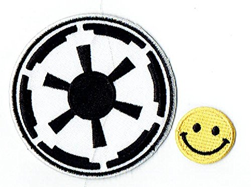 'Application Star Wars Empire Target Patch' Applique embroidered iron on PATCHES (Wappen, ワッペン , 패치) with Yellow Tiny Smiley Patches by PATCH CUBE