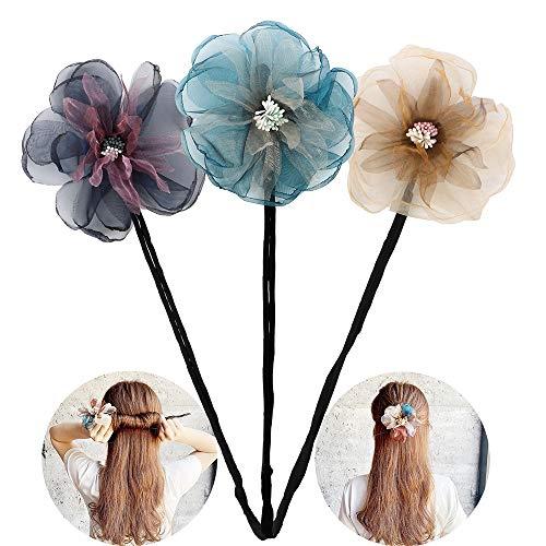 One Step Donut Hair Bun Maker, Women Magic Hair Styling Twist Headband with Translucent Veil Flower for Girl Hairstyle DIY Tool (3 Colors) (Headbands For Buns)