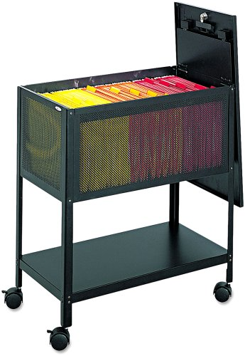 Safco Products 5351BL Mesh Tub File with Locking Top, Letter Size, Black (Locking Cabinet Carts)