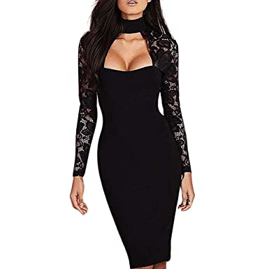 Fashion Women s Low-Cut Round Neck Sexy Tight Ladies Club Party Lace Sleeve  Openwork Dress aa175360f