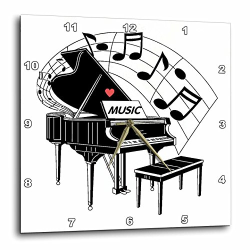 3dRose dpp_44809_1 Black Piano with Dancing Notes n Love Music on It Wall Clock, 10 by 10-Inch