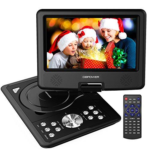 DBPOWER 9.5'' Tragbarer DVD-Player, 5 Stunden Akku, schwenkbaren Bildschirm, unterstützt SD-Karte und USB, mit Spiele-Joystick, Auto-Ladegerät-Schwarz