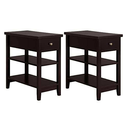 Yaheetech 3 Tier Sofa Side End Table with Double Shelves 1 Drawer – Nightstand Coffee Table for Living Room, Set of 2, Espresso