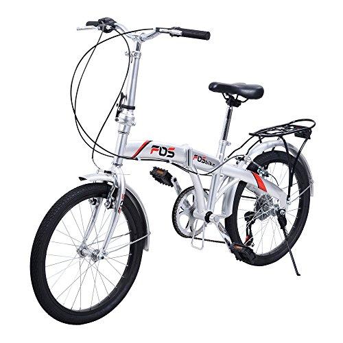 "New 20"" Folding Bike 6 Speed Bicycle Storage Silver School Sports Shimano -  Breath Shop, BS59009"