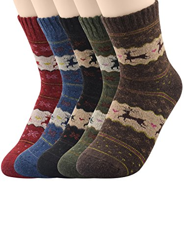 Dance Crew Costume Ideas (Century Star Cushioned Thick Merino Wool Crew Outdoor Socks 5 Pack Deer)