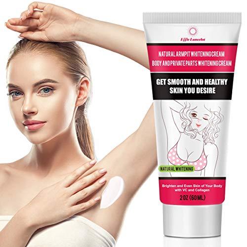 Underarm Whitening Cream, Natural Skin Bleaching Cream with Vitamin C Effective for Lightening & Brightening Armpit, Knees, Elbows Neck, Dark Spots, Private Areas, Whitens, Nourishes, Repairs Skin 60g (Best Brand For Whitening Skin Cream)