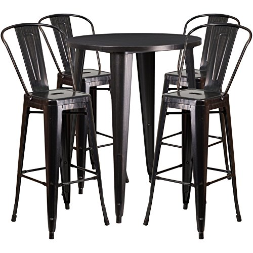 Flash Furniture 30'' Round Black-Antique Gold Metal Indoor-Outdoor Bar Table Set with 4 Cafe Stools - Antique Round Table Set