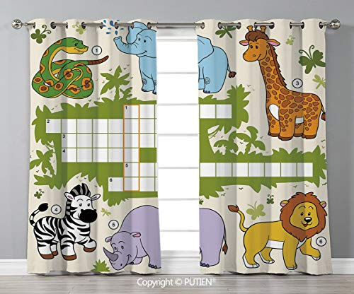Grommet Blackout Window Curtains Drapes [ Word Search Puzzle,Colorful Crossword Game for Children Wild Jungle Safari Animals Grid Decorative,Multicolor ] for Living Room Bedroom Dorm Room Classroom Ki ()