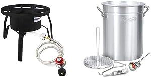 GasOne B-5300 One High-Pressure Outdoor Propane Burner Gas Cooker Weld, Black & Bayou Classic 3025 30Qt Turkey Fryer Pot, 32 Quart, Silver
