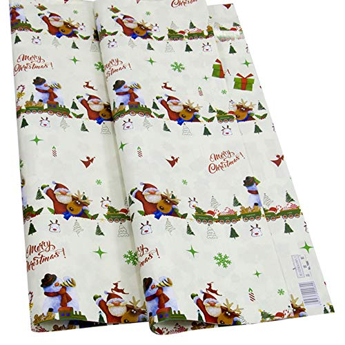 Highpot 3 Rolls Wrapping Paper with Santa Claus Snowman and Reindeer Pattern for Gift-Christmas Elements Collection (C) ()
