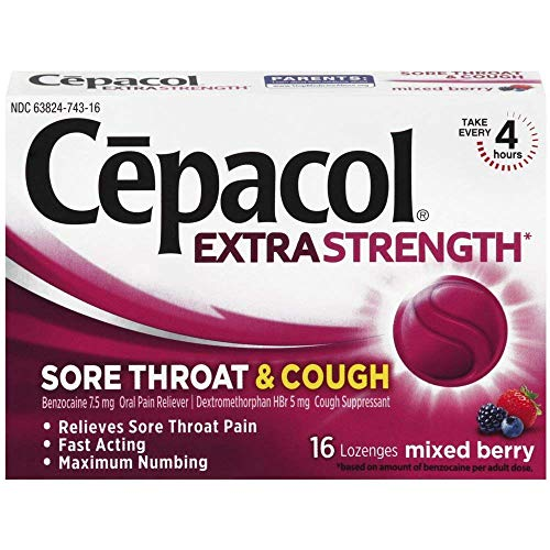 Cepacol Extra Strength Sore Throat & Cough Drop Lozenges, Mixed Berry 48ct (3X16ct)