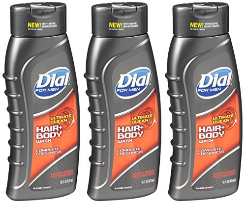Dial Men Ultimate Clean Hair Body Wash, 16 Ounce, 3 Pack