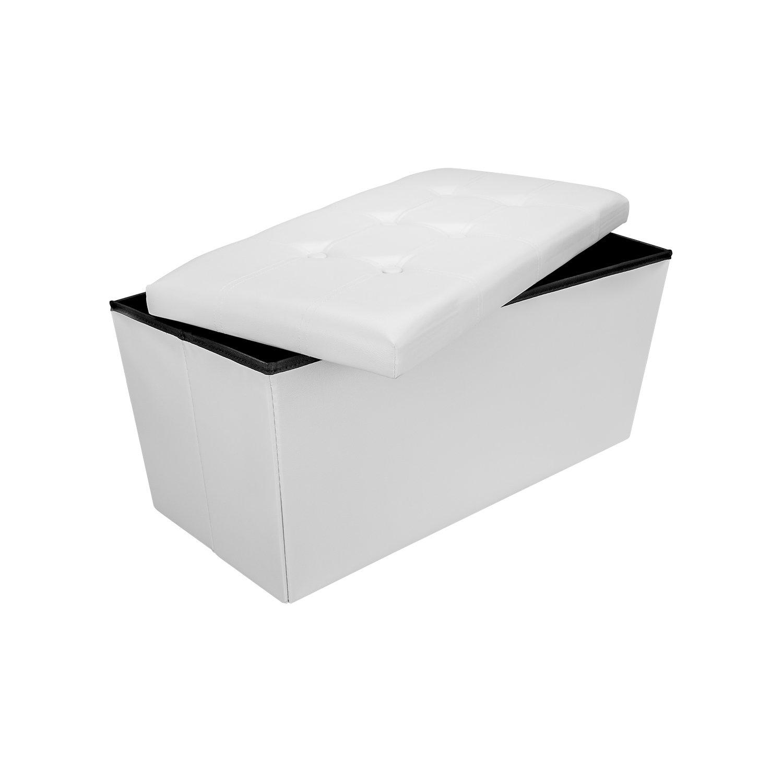 Wintem Pouf POGGIAPIEDI Sgabello Contenitore A CASSAPANCA Puff Pieghevole in Ecopelle Imbottito 76x38x38 CM (Bianco)