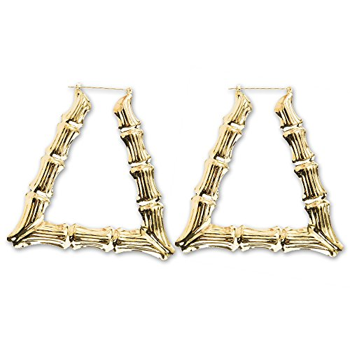 Bennyue Bamboo Earrings Large Triangle Hoop Gold Tone 3.5 Inch Big Round Pincatch Hollow Casting Style Ear Stud Eardrop Alloy Hypoallergenic Punk Hip-Hop (Bamboo Yellow Earrings)