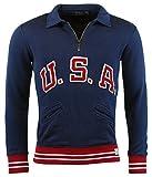 Polo Ralph Lauren Men's 'USA' Half Zip Pullover, Brigham Blue, Large