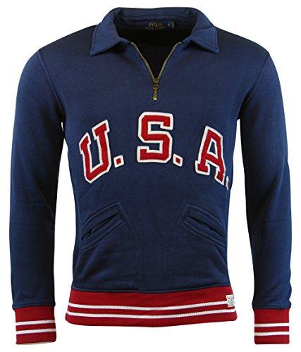 Polo Ralph Lauren Men's ''U.S.A.'' Half Zip Pullover,Brigham Blue, M by Polo Ralph Lauren