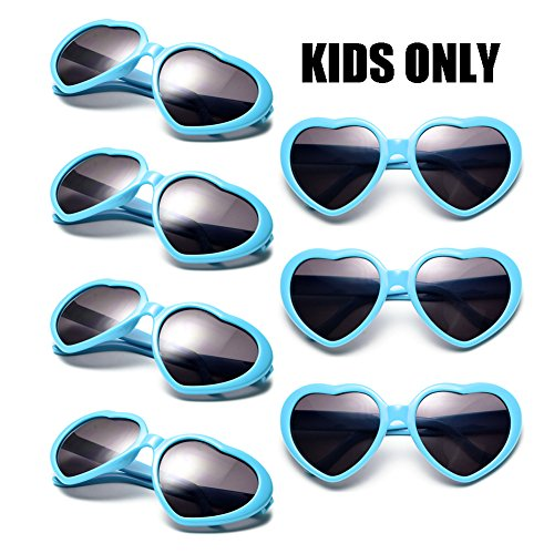 Neon Colors Party Favor Supplies Wholesale Heart Sunglasses for Kids (7 Pack (Cheap Colored Contacts For Costumes)
