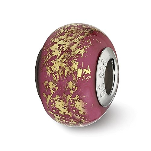 (Sterling Silver Polished Antique finish Reflections Dark Pink With Gold Foil Ceramic Bead Charm)