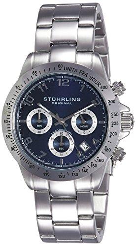 Gents Designer Watches (Stuhrling Original Concorso Mens Sports Watch - Analog Quartz Chronograph Watch - Blue Dial Date Display Wrist Watch for Men - Mens Designer Watch with Stainless Steel Bracelet 665B.02)
