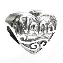 .925 Sterling Silver Antique Heart Love Nana Great Grandma Bead For Pandora European Charm Bracelets