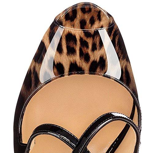 Plateau Toe Scarpe Criss Elashe Strap Cross Nero Con Leopardo 15cm Donna Da Peep Col Classiche Tacco O0zrp0