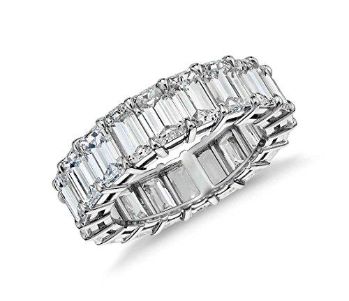 Women's 3x5 Emerald Design 10CTW Cubic Zirconia Eternity Wedding Band (6) - Platinum Eternity Ring