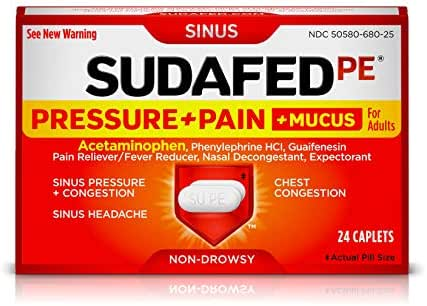 Sudafed PE Pressure + Pain + Mucus Relief Caplets for Sinus Pressure, Nasal and Chest Congestion, and Mucus, contains Acetaminophen, Guaifenesin and Phenylephrine HCI, Non-Drowsy, 24 ct