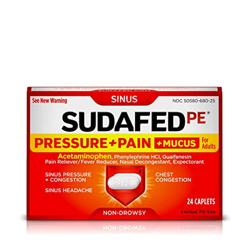 Sudafed PE Pressure + Pain + Mucus Relief for Sinus Pressure and Nasal Congestion, 24 ct (Best Medication For Mucus)