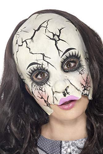 (Mens Ladies Broken Haunted Doll 3/4 Face Latex Halloween TV Book Film Fancy Dress Costume Outfit)