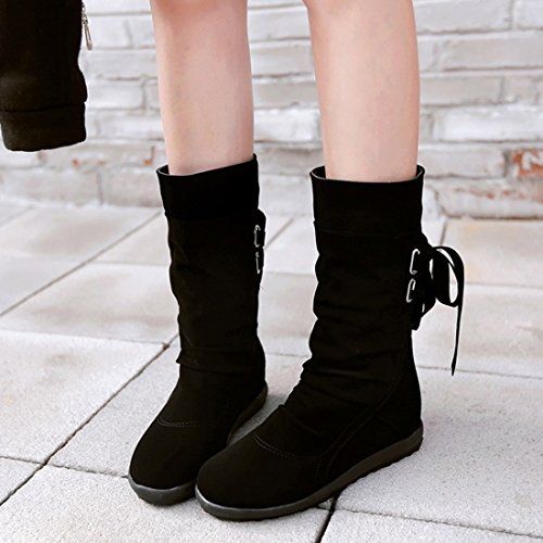 Mid Girls Calf Wide amp;N Shoes Up Lace Women Winter Snow Boot calf Black O xatwZRR