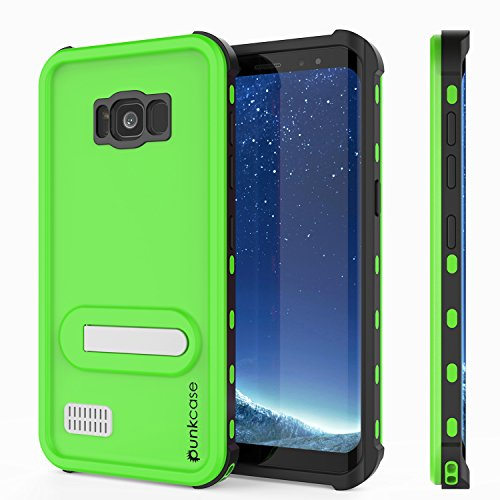 Galaxy S8 Waterproof Case, Punkcase [KickStud Series] [Slim Fit] [IP68 Certified] [Shockproof] [Snowproof] Armor Cover W/ Built-In Kickstand + Screen Protector for Samsung Galaxy S8 [LIGHT GREEN] - Kickstand Screen