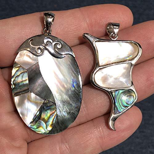 Black Lip Pendant Shell Pendant - [ABCgems] New Zealand Abalone & Tahitian Black/White Lip Oyster Shell Inlaid Pendant for Jewelry Making