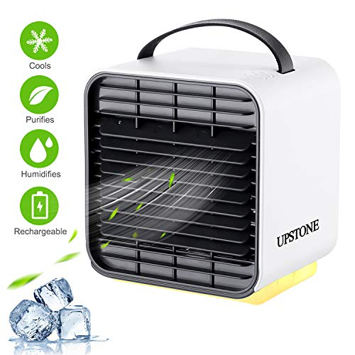 Portable Air Conditioner Fan, UPSTONE Personal Space Air Cooler Desk Fan Mini Evaporative Cooler Purifier Table Fan USB Rechargeable Fan with Handle and Night Light for Home Room Office Dorm, White (Best Personal Space Cooler)