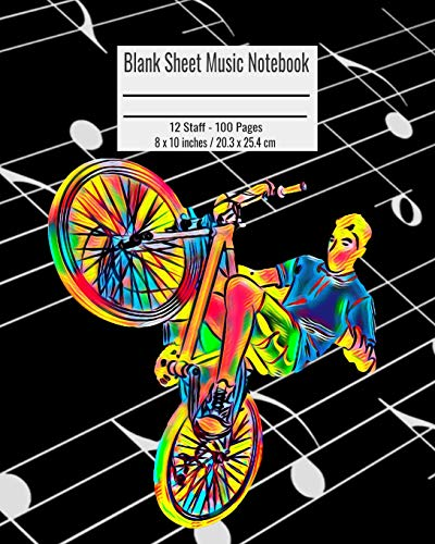Blank Sheet Music Notebook: 100 Pages 12 Staff Music Manuscript Paper Colorful Biker Cover 8 x 10 inches / 20.3 x 25.4 cm Nick Darker