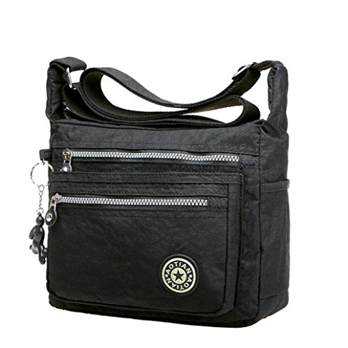 Bags Leisure Waterproof Black Nylon Shoulder Girls Black Womens Kolylong Bags Messenger 8UqCngwO