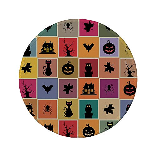 Non-Slip Rubber Round Mouse Pad,Vintage Halloween,Bats Cats Owls Haunted Houses in Squraes Halloween Themed Darwing Art Decorative,Multicolor,11.8