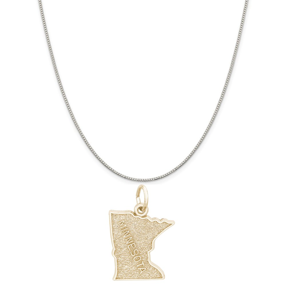 Rembrandt Charms Two-Tone Sterling Silver Minnesota Map Charm on a Sterling Silver 16 18 or 20 inch Rope Box or Curb Chain Necklace