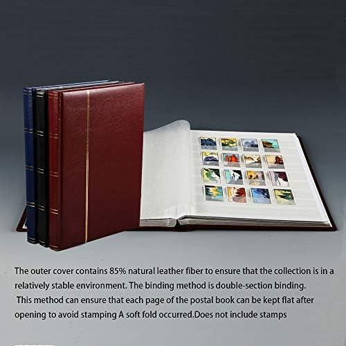 HJSS Postzegel boek, stempel boek album, stempel album, Het papier voelt heerlijk, duurzaam, modieus en high-end, 64 pagina's met dubbelzijdige zwarte achtergrond, zwart