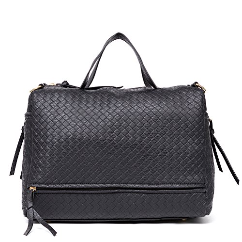 (Mn&Sue Stylish Black Woven Pattern Women Top Handle Satchel Roomy Handbag Crossbody Bag)
