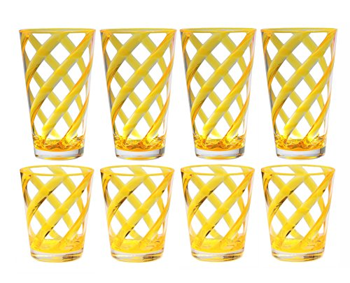 QG 8-Piece 16 oz & 22 oz Neon Yellow Stripes Acrylic Iced Tea Cup with Clear Heavy Base Plastic Tumbler Set