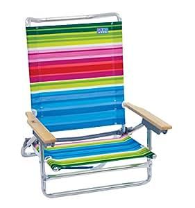 Rio Beach 5 Position Classic Lay Flat Beach Chair, Beach Club Multi Stripe