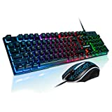 FLAGPOWER Gaming Keyboard and Mouse Combo, Rainbow Backlit Mechanical Feeling Multimedia Keyboard with 6 Colors Breathing LED Backlight USB Mouse for PC, Laptop, Computer