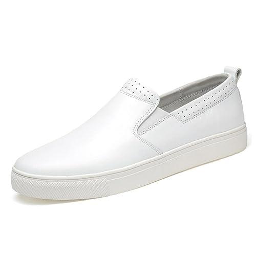 TRULAND Zapatillas Sin Cordones para Hombre en Cuero Genuino: Amazon.es: Zapatos y complementos