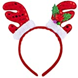 Lux Accessories Christmas Xmas Ugly Sweater Mistletoe Antlers Santa Elf Headband