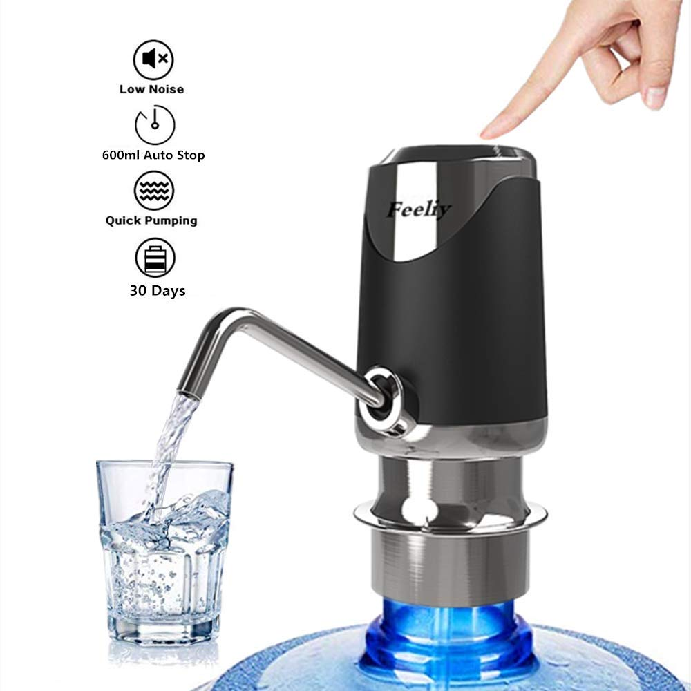 Stainless Stee Water Bottle Pump, Electric Drinking Water Pump Portable USB Charging 5 Gallon Dispenser Switch by Feeliy