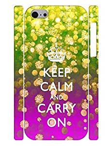 Personalized Series Cell Phone Case With Keep Calm And Crown And Neon Color Printed Hard Plastic Case Cover for Iphone 5c