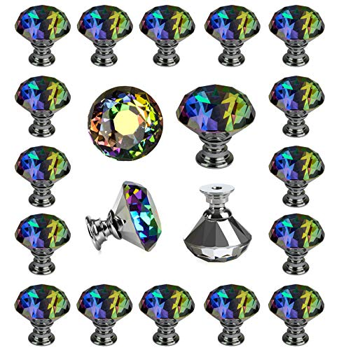 - 25 pcs Crystal Colorful Glass Drawer Pulls 30 mm Decorative Knobs for Kitchen Bathroom Cabinet, Dresser and Cupboard by DeElf