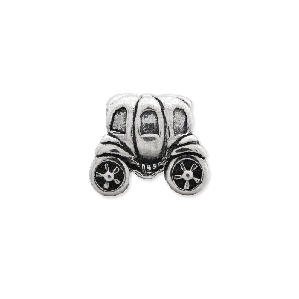 Sterling Silver Jewelry Themed Beads Solid 10.00 mm 7.27 mm Reflections Pumpkin Carriage Bead
