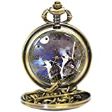 Handsome Wolf Pocket Watch - Brushed Metal Finish w/ Pair Of Wolves On Face