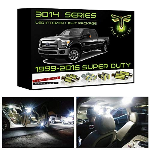 Fyre Flys White LED Interior Lights for 1999-2016 Ford F250 F350 Super Duty 14 Piece 6000K Super Bright 3014 Series SMD Package Kit and Install Tool ()
